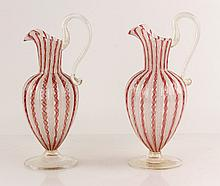 Pr. Venetian Latticino Glass Pitchers