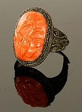 Chinese Carved Coral Ring