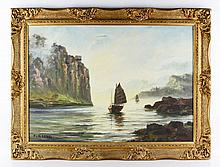 Chinese View of Boats, O/C