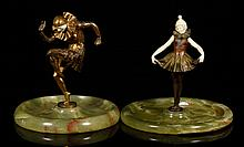 2 19th C. Art Deco Figures, Bronze