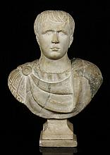 Roman Period White Marble Bust of Caesar