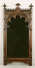 19th C. Gothic Style Carved Oak Mirror