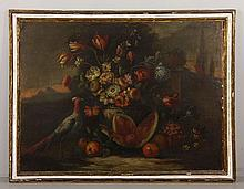 18th C. Still Life with Fruit and Pheasant, O/C