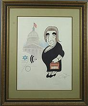 Political Caricature Print by Xavier Cougat, 1973