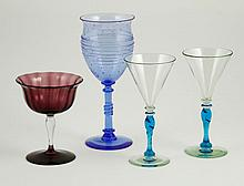 Collection of 4 Frederick Carder Steuben Stems