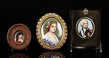 3 Miniatures on Porcelain