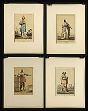 4 Delpech Hand Colored Stone Lithographs