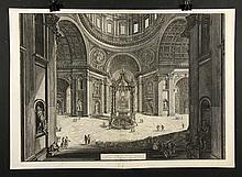 Piranesi, Veduta interna della Basilica di S. Pietro in Vaticano, Etching