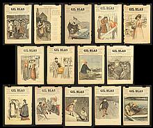 14 1890s Gil Blas Front Pages featuring Steinlen Lithographs