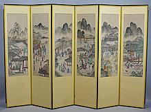Korean Six Panel Folding Screen