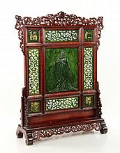 Chinese Carved Jade Table Screen