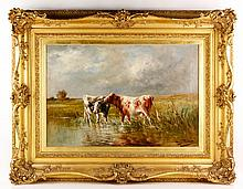 Fisher, Cows in Stream, O/C