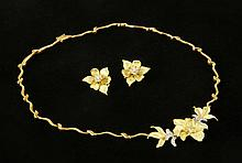 18K Gold and Diamond Necklace and Earrings