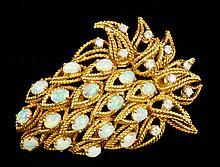 18K Yellow Gold Diamond and Opal Brooch