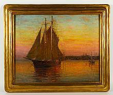 Anderson, Sailboat at Sunset, O/C