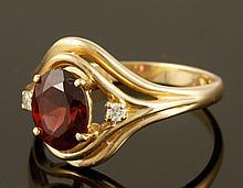 14K Diamond and Garnet Ring