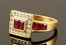 18K Yellow Gold, Diamond and Ruby Ring