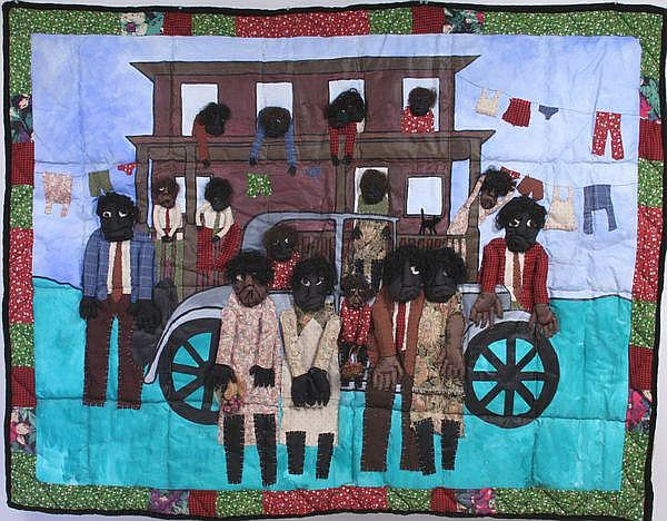 Wendell Brown, 'Black Family Pose', appliqué wall hanging, 1995