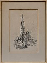 Jack Shaw, Cathedral Scene, Pencil on Paper
