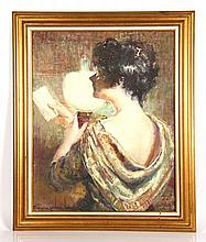 Carbonell, Woman Reading a Note, O/C