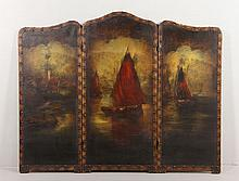 Three Panel Leather and Canvas Fire Screen