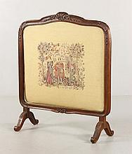 Elizabethan Style Needlepoint Fire Screen