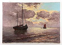 Konig, Seascape with Fishing Boats, O/C