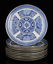 10 Chinese Export Blue and White Porcelain Plates