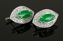 Pr. Chinese Jadeite and Sterling Earrings