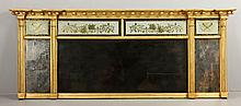 Early 19th C. Federal Gilt Wood Overmantle Mirror