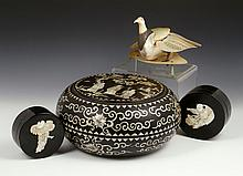 3 Chinese Mother of Pearl Inlaid Boxes and Bird