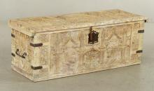 18th C. Continental Gothic Carved Trunk