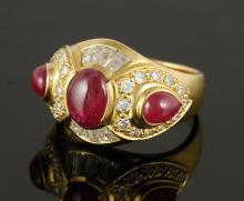 Italian 18K Gold, Diamond and Ruby Ring
