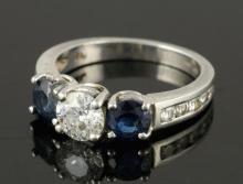 Platinum, Diamond and Sapphire Engagement Ring