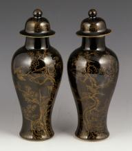 Pr. Chinese Black Glazed Jars