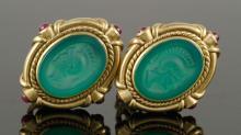 Pr. 14K Gold Etruscan Style Earrings