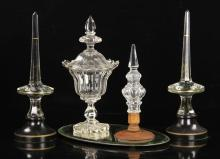 19th C. English Crystal Finials and Urn