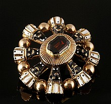 Georgian 14K Gold, Garnet and Enamel Brooch
