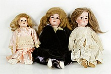 3 Victorian Bisque Head Dolls