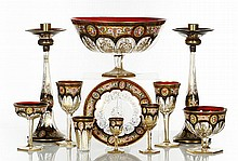 Czech Enamel-Decorated Glass Service