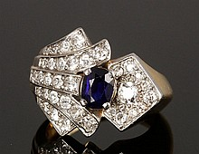 18K Diamond and Sapphire Ring
