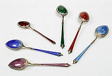Continental Enameled Silver Spoons