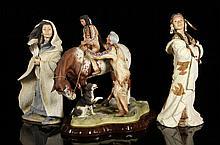 Lot of 3 Bronn Porcelain Native American Figures