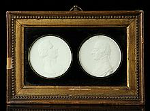 19th C. Framed Plaster Portrait Medallions