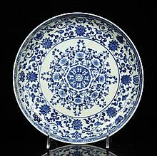 Chinese B/W Porcelain Plate