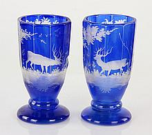 Pair of Bohemian Glass Goblets