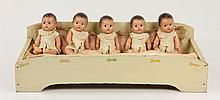 1934 Dionne Quints Dolls and Crib