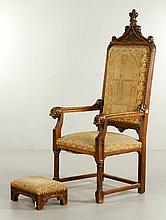 Gothic Armchair with Stool