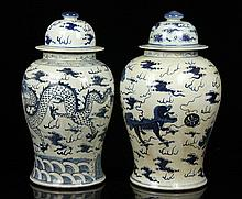 Pair of 19th C. Chinese Blue and White Jars