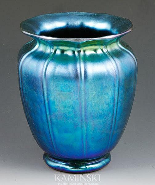 Steuben Blue Aurene Vase